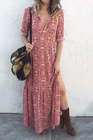 Sexy V Neck Floral Printed Side Split Vacation Maxi Casual Dresses