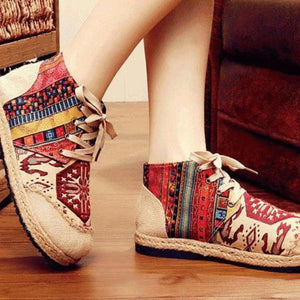 Fashion National Wind Embroidered Cotton And Linen Martin Boots
