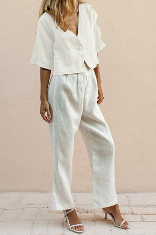 V-Neck One Button Trouser two piece set