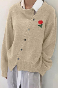 Fashion Rose In Wrought Irregular Slanting Buckle Cardigan