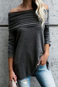 Off Shoulder  Asymmetric Hem  Plain Elegant T-Shirts