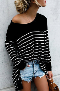 Round Neck  Asymmetric Hem  Stripes T-Shirts
