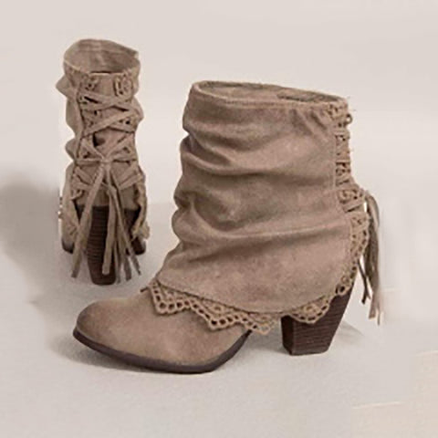 Trimmed Lace Up Boots