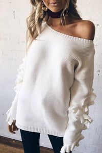 Sweet Casual Chic Loose Plain Ruffled Long Sleeve Sweater