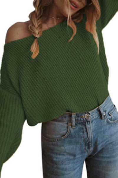 One Shoulder  Plain Sweaters