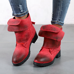 Autumn And   Winter Retro Washing Round Head Boots