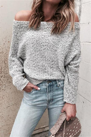 Fashion Sexy Shoulder   Color Long Sleeve Loose Sweater
