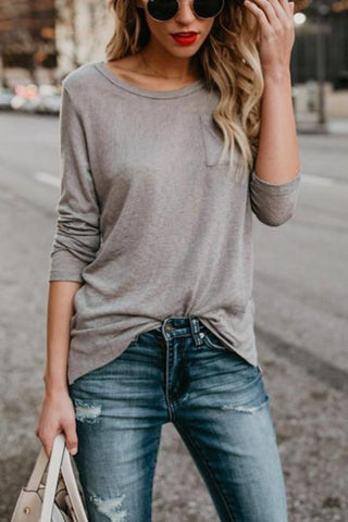 Fashion Casual Fashion Pure Color Long Sleeve T-Shirt With Round Collar And Slit