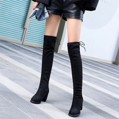 Suede High-Heeled Round Head Lacing Over Knee Martin Boots