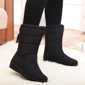 Pure Colored Tassel Velvet Snow Boots