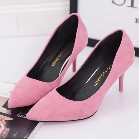 Pure Color Sharp Head Suede Pointed Heels Flat Loafers