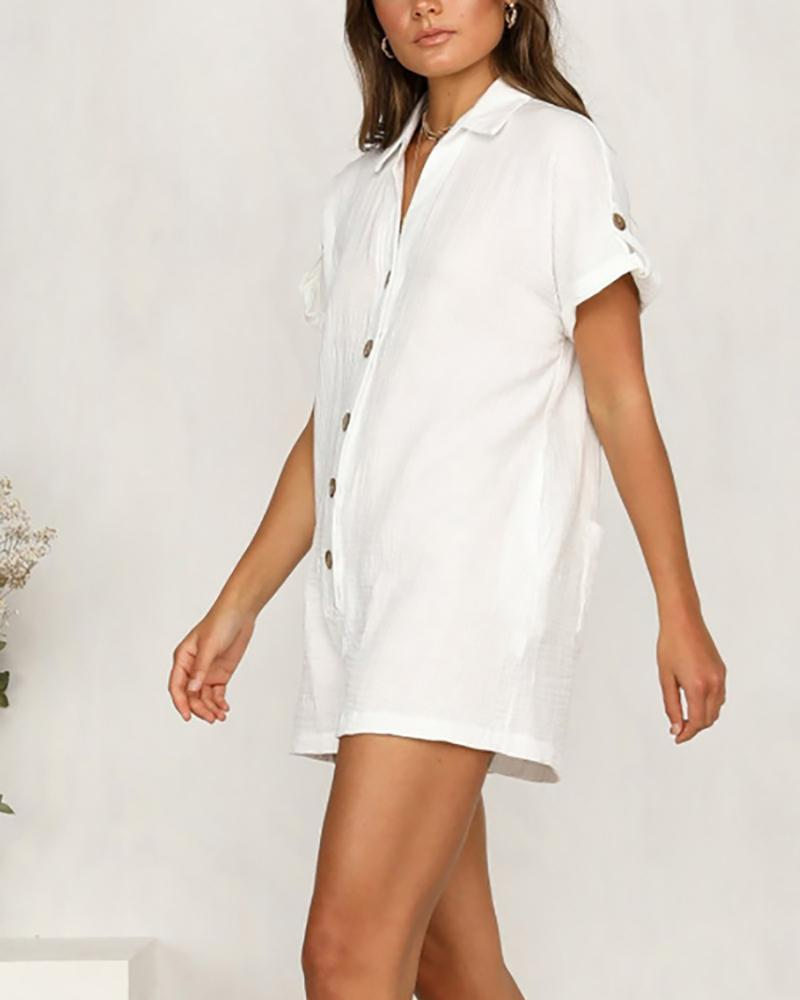 Hot Shirt Button Cotton And Linen Jumpsuit