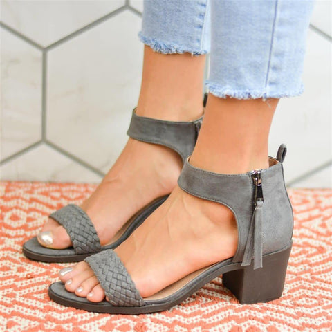 Fashion   Versatile Side Zipper Chunky Sandals