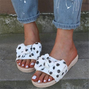 Sweet Bowknot Polka Dot Printed Flat Bottom Slippers sandals