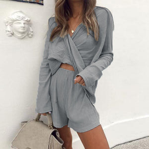 V-Neck Loose Solid Color Long-Sleeved Top Shorts Two-Piece Suit