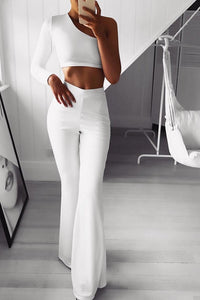 Sexy Sloping Shoulder Pure Colour Long Sleeve Jumpsuit
