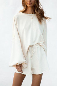 Pure Color Round Collar Long Sleeve Top And Shorts Fashion Suit