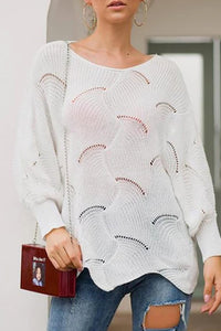 Csaual Round Neck Loose Irregular Knitted Sweater