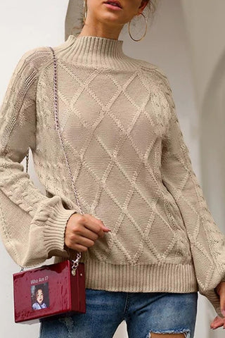 Casual Half-High Collar Diamond Pattern Lantern Sleeve Knit Sweater