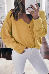 Casual Pure Colour V Neck Long Sleeve Sweater