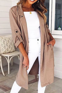 Fashion Pure-Color Lapel Long-Sleeved Cardigan