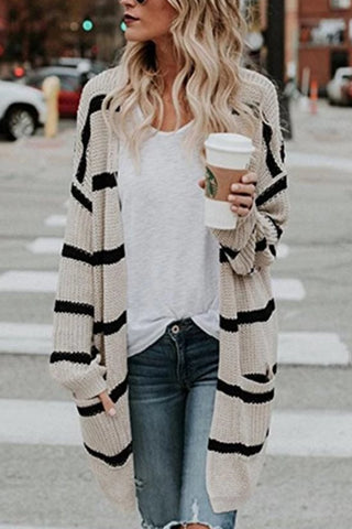 Casual Striped Long Sleeves Cardigan