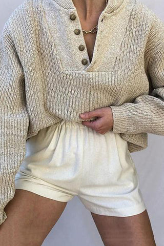 Women's Commuting Single-Breasted Pure Color Knit Sweater