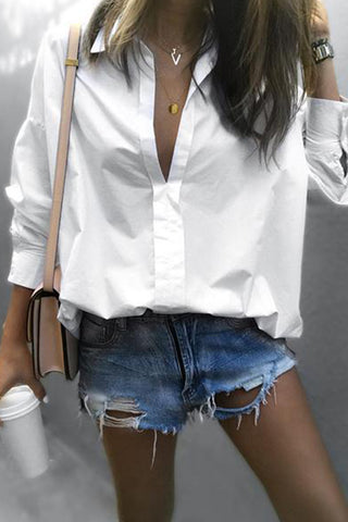 Fashion Fold-Over Collar Long-Sleeved Solid Color Shirts