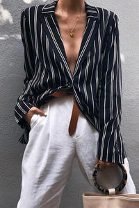 Fashion Striped Printed Twisted Collar Long Sleeve Shirts