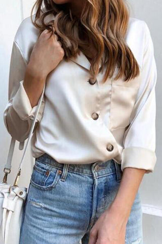 Simple Ladies Lapel Long Sleeve Shirt