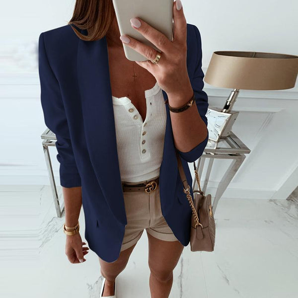 Fashion Green Fruit Collar Long Sleeve Pocket Solid Color Blazer