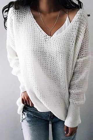Women's Casual V Neck Pure Color Long Sleeve Sweater