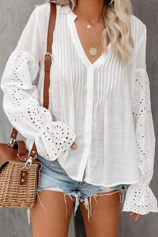 Casual V-Neck Flared Sleeve Hollow Shirt