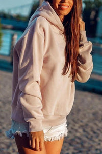 Fashion Solid Color Wild Backless Hooded Street Tide Sweater