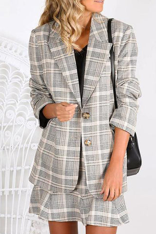 Casual Lapel Single-Breasted Long-Sleeved Plaid Small Suit