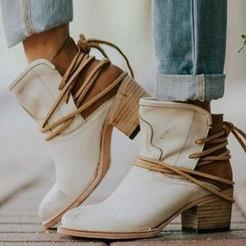 Euramerican Vintage Pure Color Chunky Heels Ankle Boots