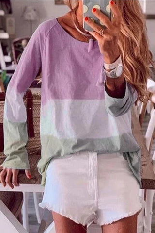 Casual Color Matching Loose Thin Round Neck Long-Sleeved T-Shirt