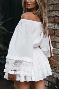 Flared Sleeve Off Shoulder Lace Belt Tie Beach Dress