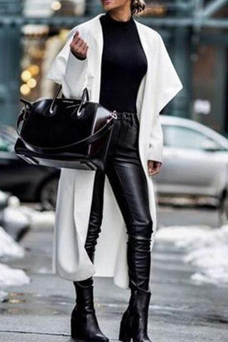 Solid Color Long Sleeve Lapel Loose Coat