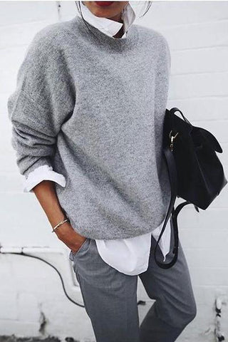 Fashion Round Neck Pure Colour Loose Sweater