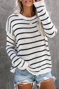 Casual Round Neck Striped Long Sleeve Sweater