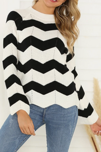 Casual Round Neck Long Sleeve Ripple Sweaters