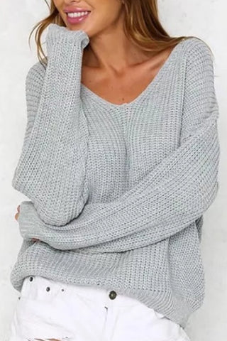 Casual Round Neck Loose Bare Back Sweaters