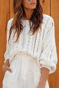 Hot-Selling White Openwork Round Neck Sweater
