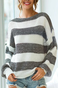 New Striped Lantern Sleeves Loose Knit Sweater