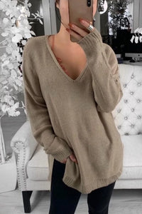 Casual Loose Deep V Neck Side Slit Long Sleeve Sweater