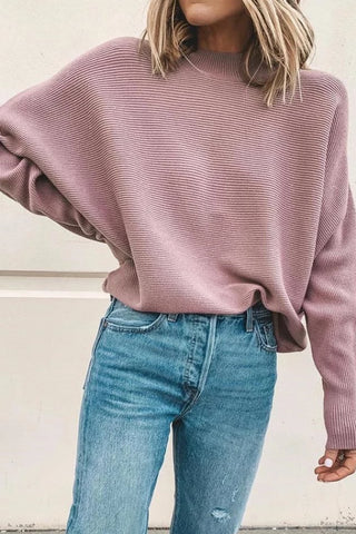Casual Knit Rib Short High Collar Bat Sleeve Sweater
