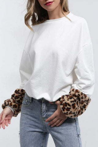 Stitching Contrast Color Leopard Round Neck Sweater