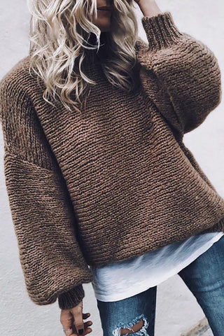 Women's Commuting Pure Color Round Neck Shoulder Sleeve Sweater