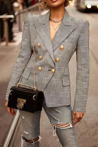 Women's Vintage Check Tailored Collar Double-Breasted Blazer